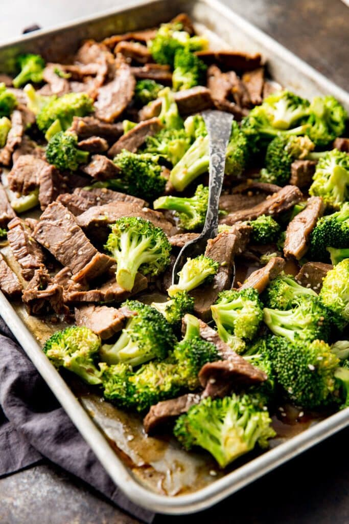 Sheet Pan Beef and Broccoli from Eazy Peazy Mealz on foodiecrush.com