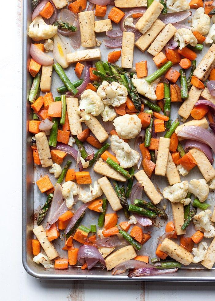 Sheet Pan Tofu and Veggie Dinner from Kitchen Treaty on foodiecrush.com