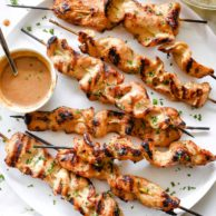Grilled Chicken Satay with Lighter Almond Dipping Sauce Recipe | foodiecrush.com