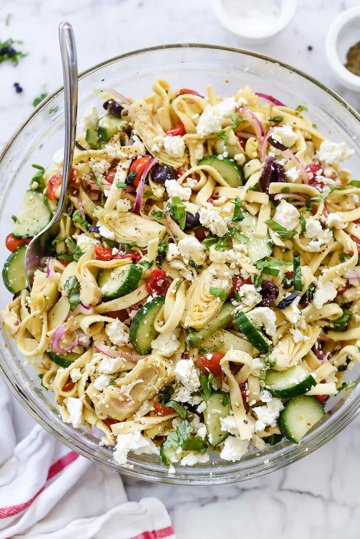 Greek Pasta Salad With Cucumbers Amp Artichoke Hearts Foodiecrush Com
