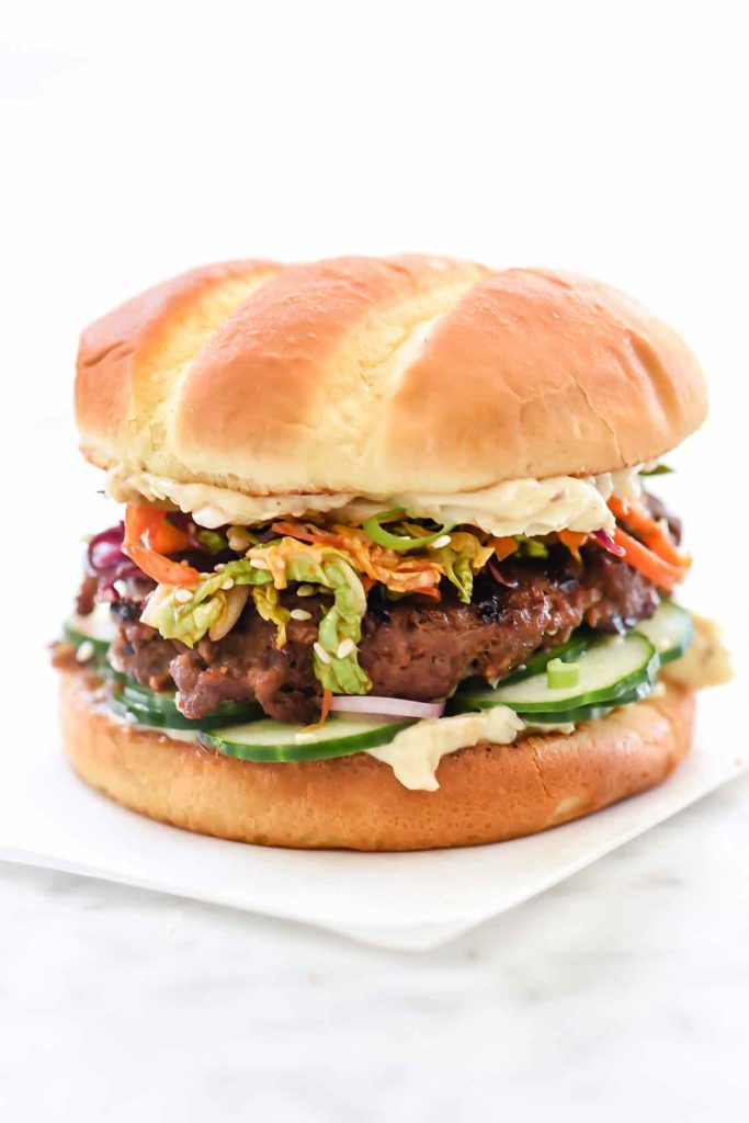 Korean BBQ Beef Burger with Kimchi Slaw | foodiecrush.com