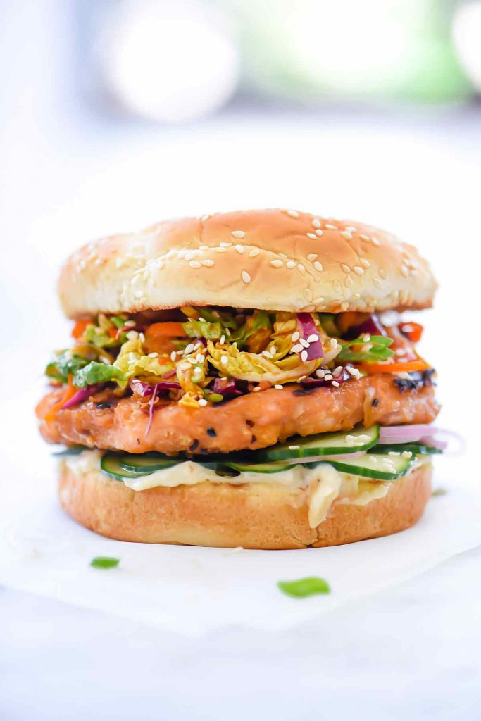 Korean BBQ Salmon Burger with Kimchi Slaw | foodiecrush.com