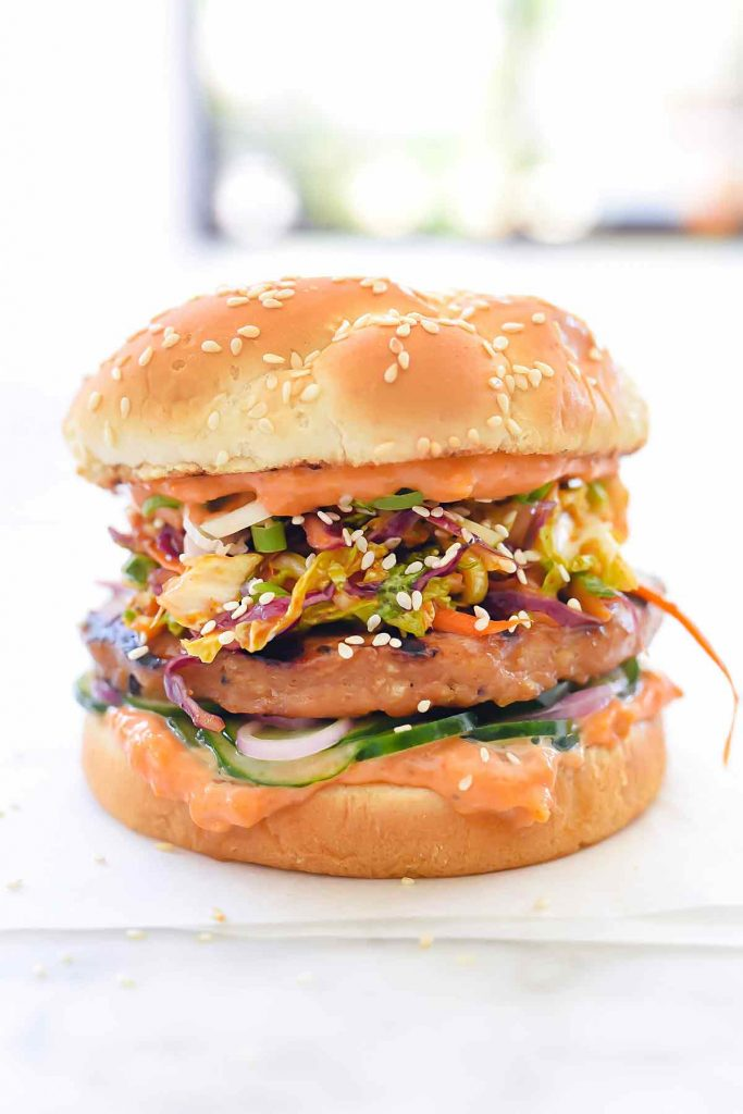 Korean BBQ Chicken Burger with Kimchi Slaw | foodiecrush.com