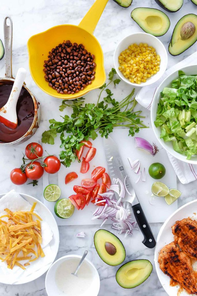 Southwest BBQ Chicken Salad Ingredients | foodiecrush.com | Grilled Chicken Salad | Salad Dinner | CPK Salad | flat lay food