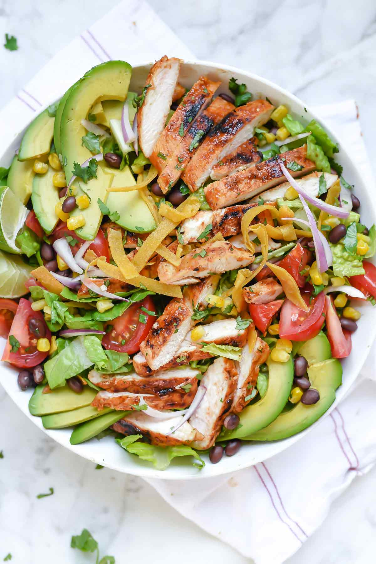 salad chicken bbq southwest recipes healthy salads recipe dinner avocado foodiecrush grilled barbecue lunch meal easy beans food cheese corn