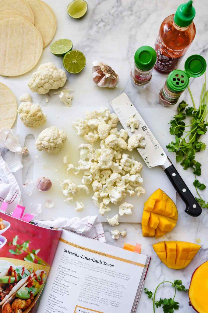 Sriracha Lime Roasted Cauliflower Tostada ingredients | foodiecrush.com