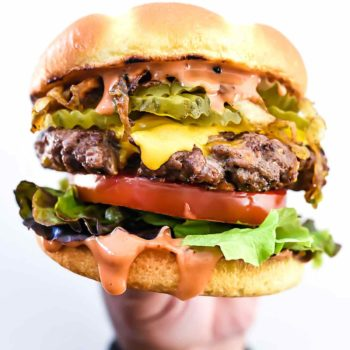 Bacon Double Cheddar Cheeseburger | foodiecrush.com