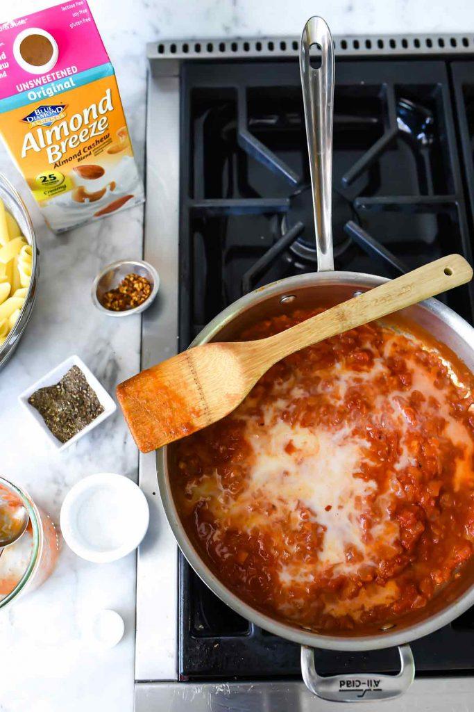 Lighter Penne alla Vodka Recipe made with Almondmilk   foodiecrush.com