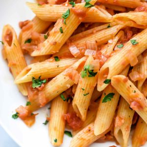 Lighter Penne alla Vodka Recipe | foodiecrush.com
