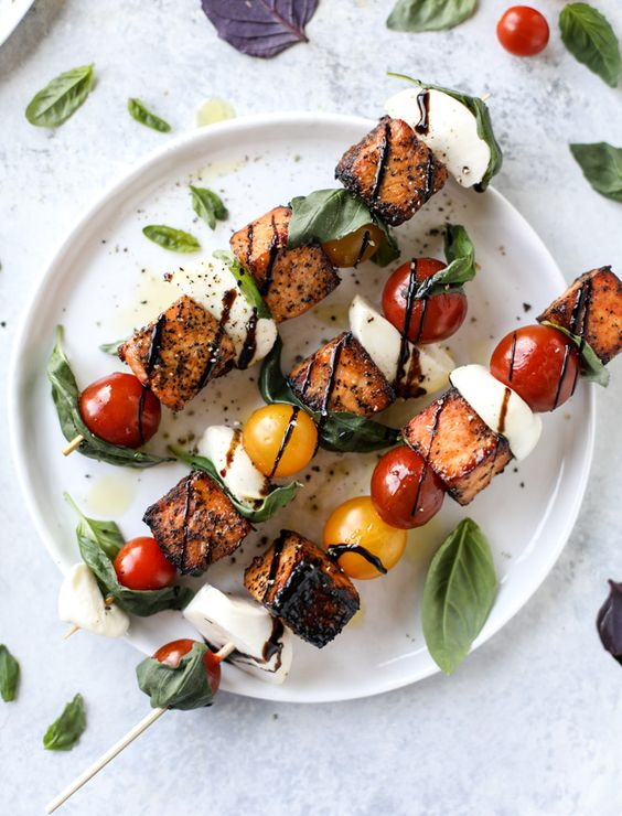30 Minute Blackened Salmon Caprese Skewers from howsweeteats.com on foodiecrush.com