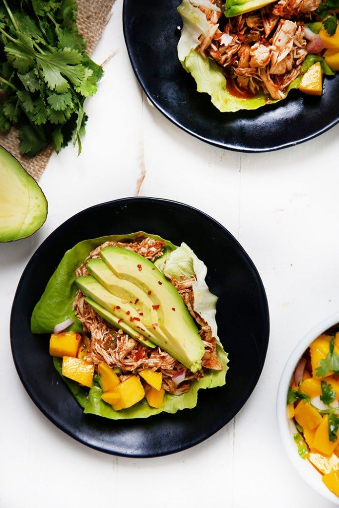 Caribbean Pulled Chicken Lettuce Wraps from lexiscleankitchen.com on foodiecrush.com