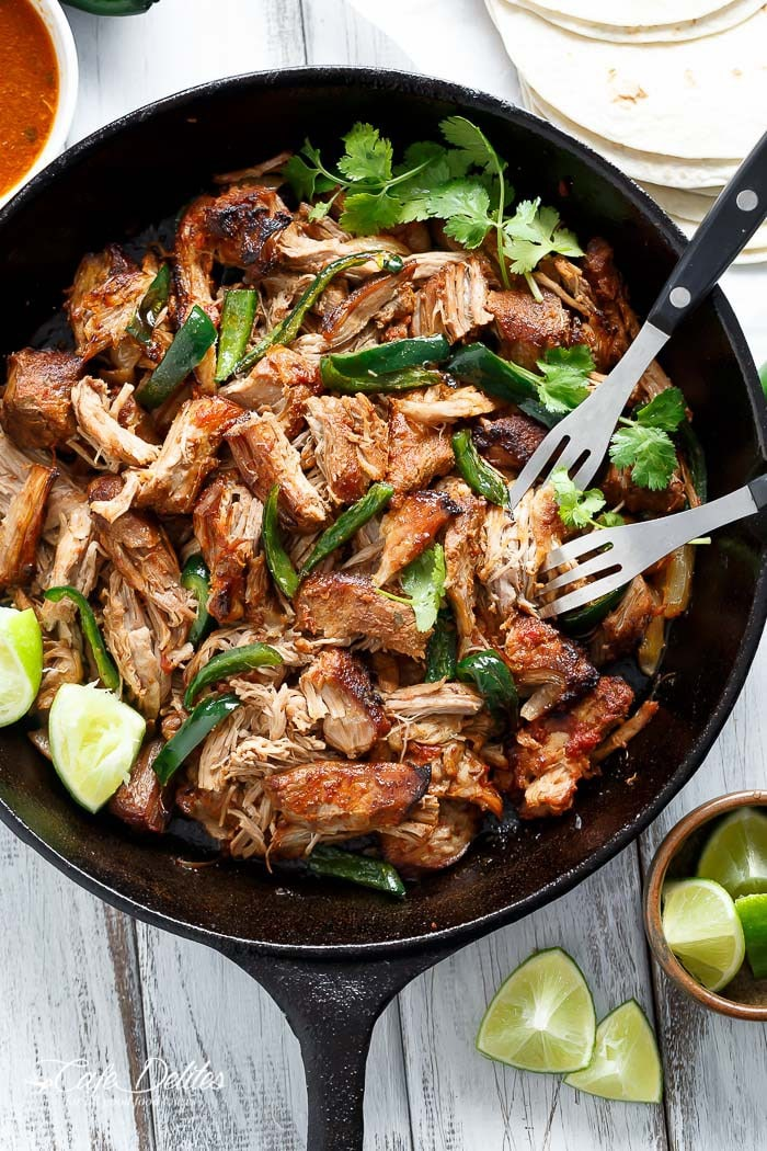 Crispy Slow Cooker Carnitas from cafedelites.com on foodiecrush.com