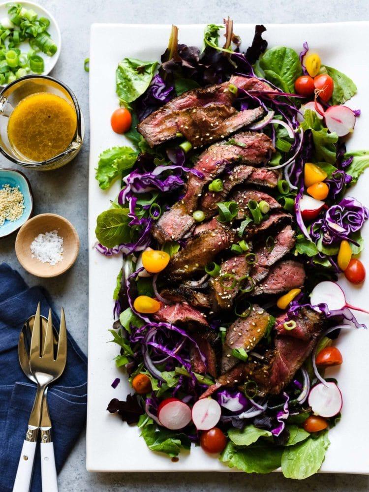 Miso-Marinated Steak Salad from kitchenconfidante.com on foodiecrush.com