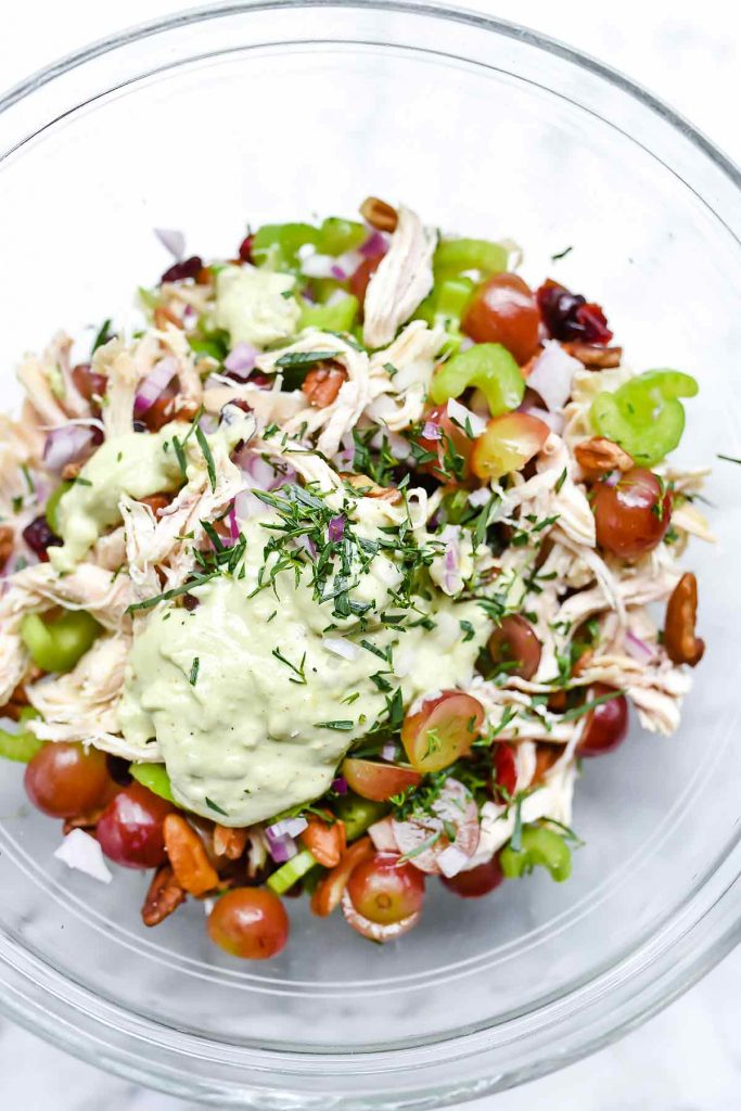 Healthy Chicken Salad Ingredients in Bowl | foodiecrush.com