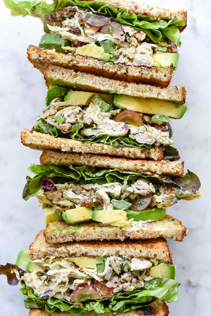 Avocado Greek Yogurt Chicken Salad Sandwich | foodiecrush.com