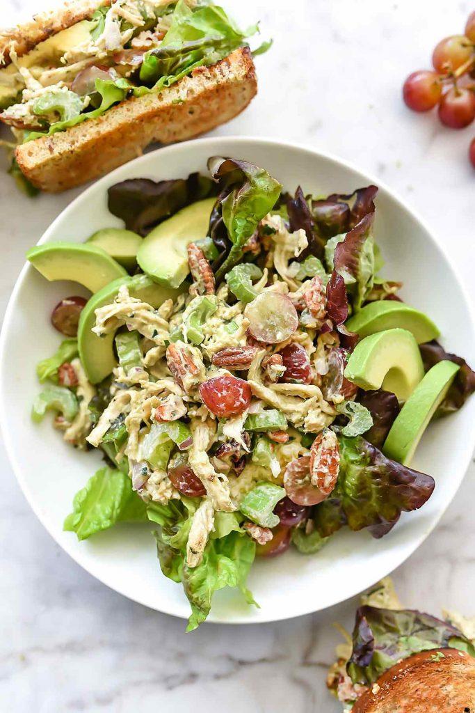 Avocado Greek Yogurt Chicken Salad | foodiecrush.com