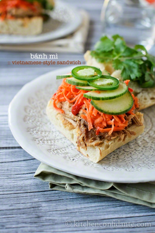Slow Cooker Bahn Mi Sandwich from Kitchen Confidante on foodiecrush.com