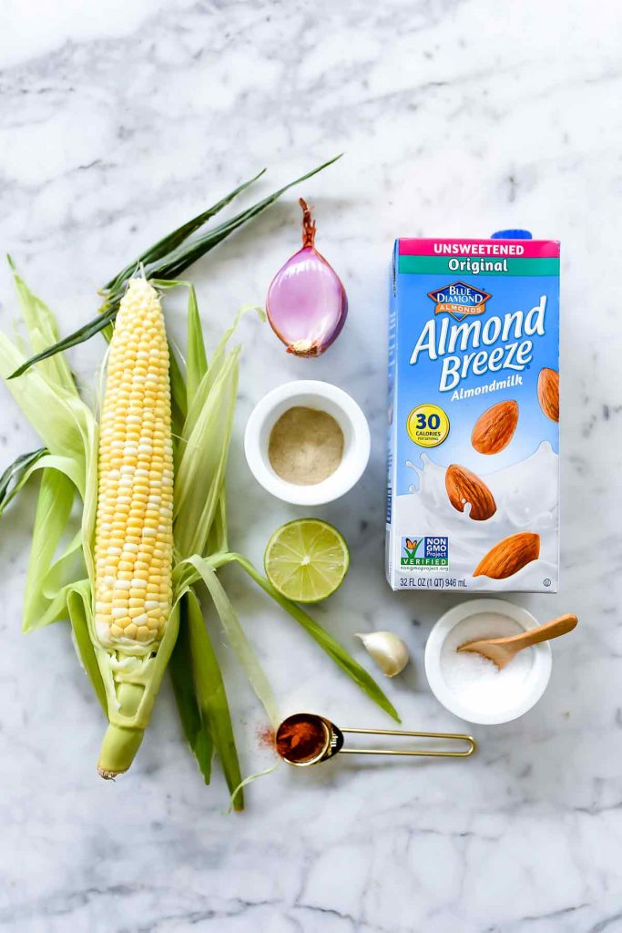 Chilled Corn and Crab Soup Ingredients made with Almond Breeze Almondmilk | foodiecrush.com