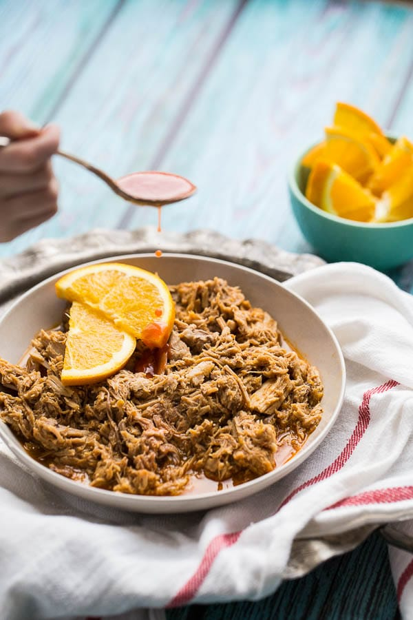 Hot and Sweet Orange Pulled Pork from Perry's Plate on foodiecrush.com