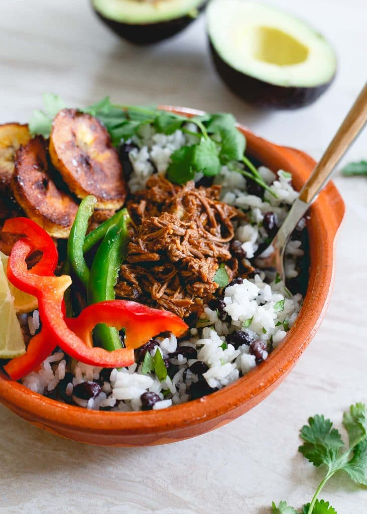 Slow Cooker Shredded Mexican Beef Bowls from Running to the Kitchen on foodiecrush.com