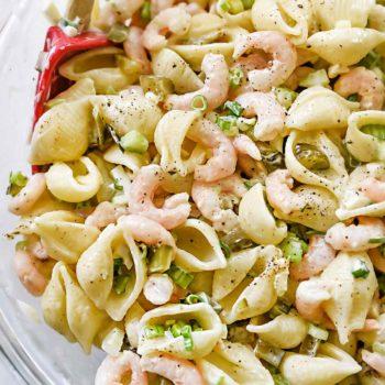 Homemade Classic Bay Shrimp and Macaroni Salad | foodiecrush.com