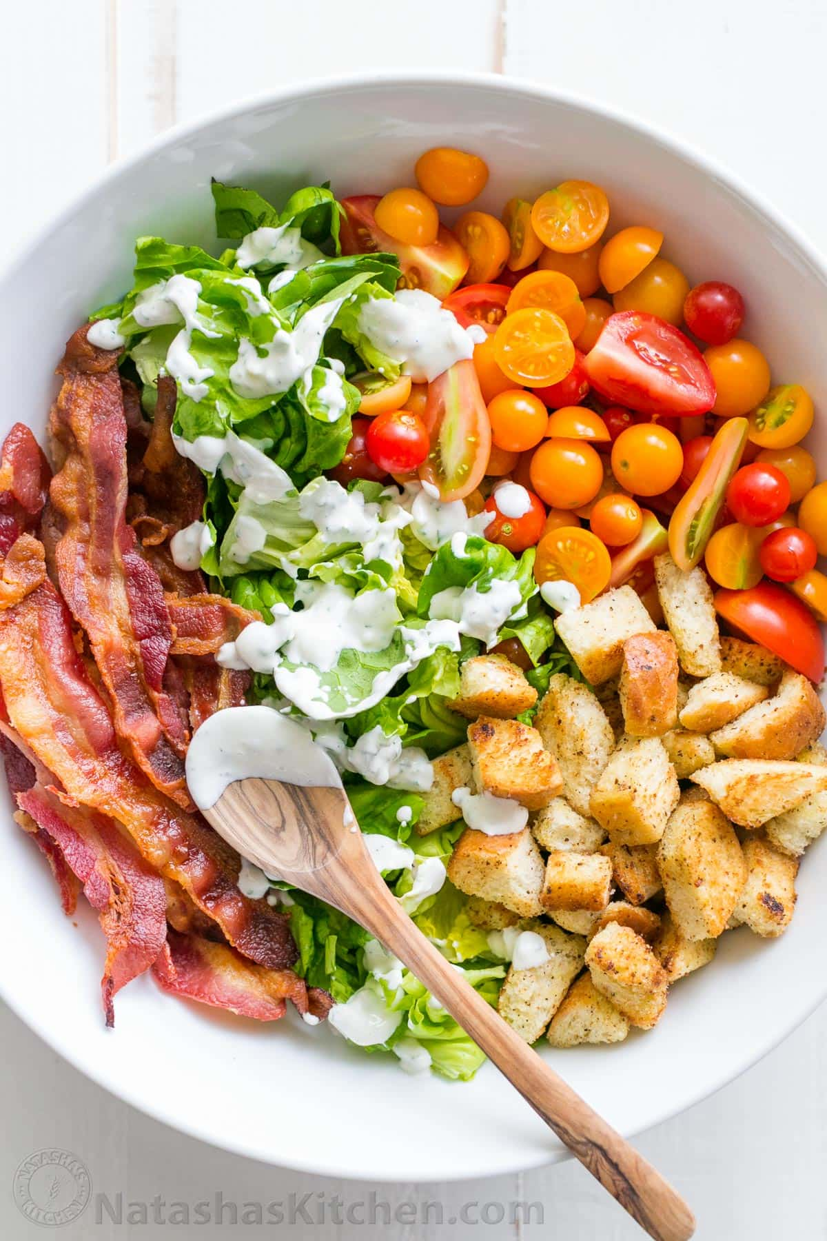 BLT Salad from natashaskitchen.com on foodiecrush.com
