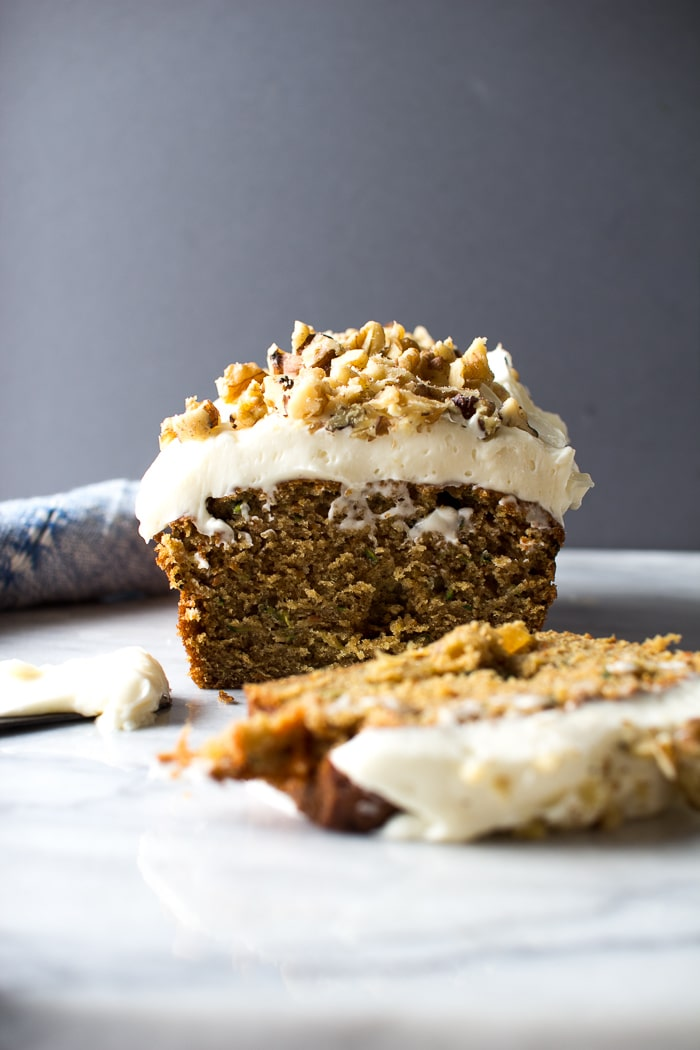 Carrot Zucchini Bread with Cream Cheese Frosting and Walnuts from flourishingfoodie.com on foodiecrush.com