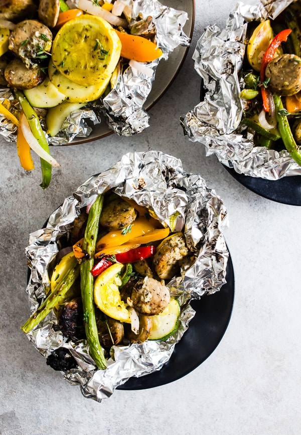 Chicken Sausage and Vegetable Foil Packet Dinner from nutmegnanny.com on foodiecrush.com