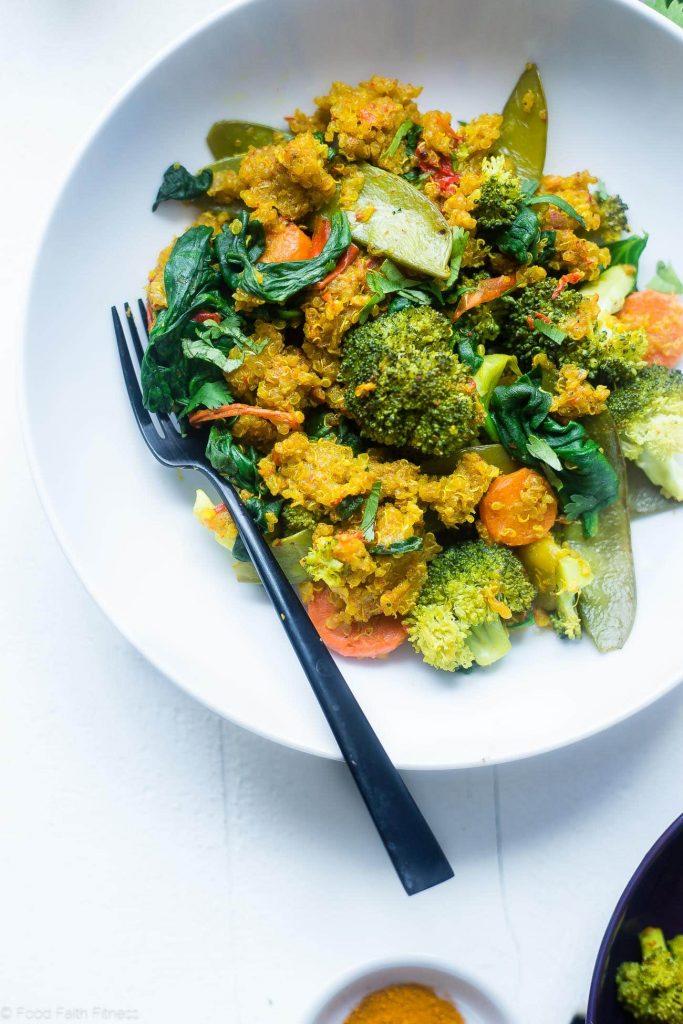 Quinoa aux légumes à la mijoteuse au lait doré de Food Faith and Fitness sur foodiecrush.com