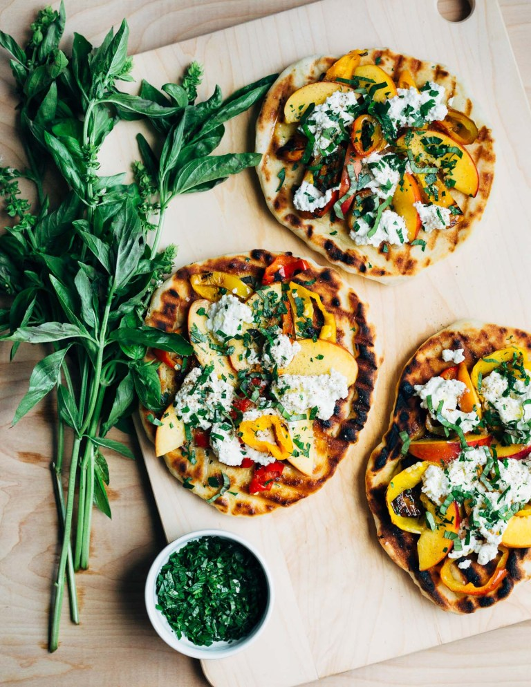 Roasted Pepper, Nectarine and Ricotta Grilled Pizza from brooklynsupper.com on foodiecrush.com