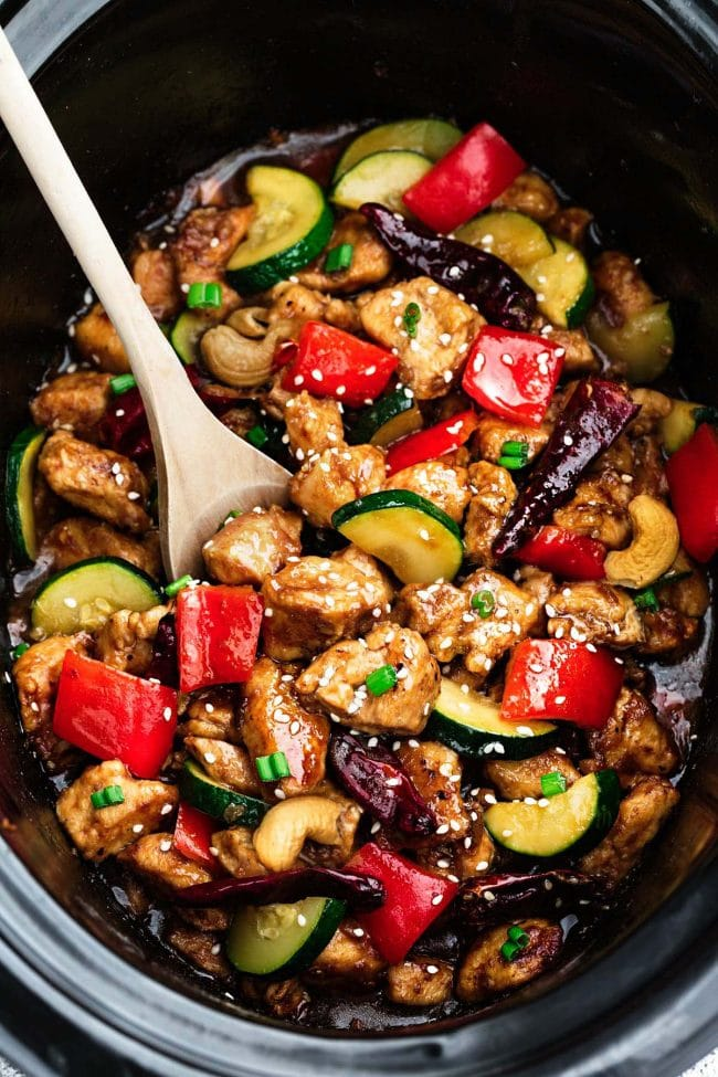 Skinny Slow Cooker Kung Pao Chicken from therecipecritic.com on foodiecrush.com