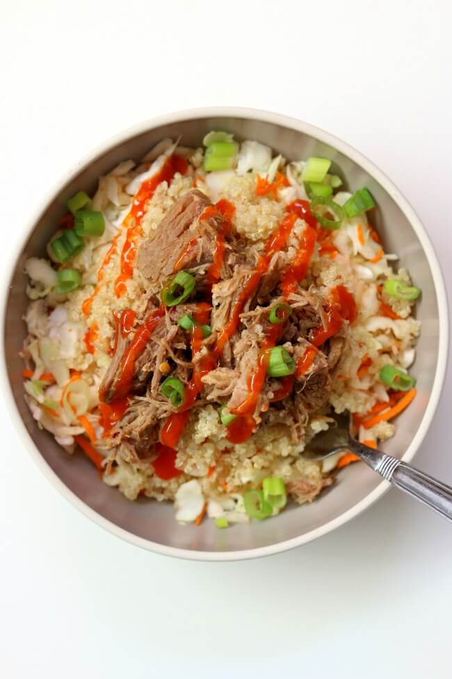 Slow Cooker Pork Quinoa Cabbage Bowls from 365 Days of Slow Cooking on foodiecrush.com