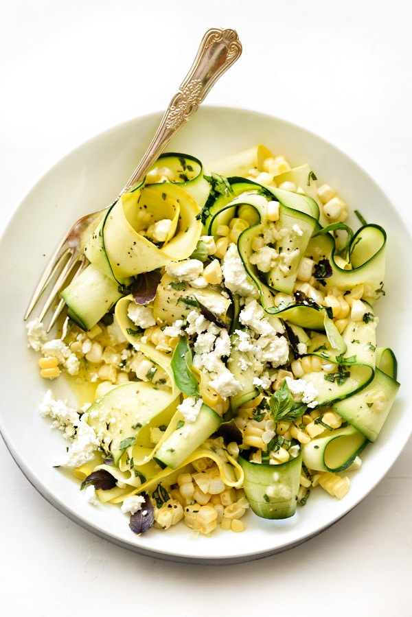 Zucchini and Fresh Corn Farmers' Market Salad with Lemon-Basil Vinaigrette from foodiecrush.com on foodiecrush.com