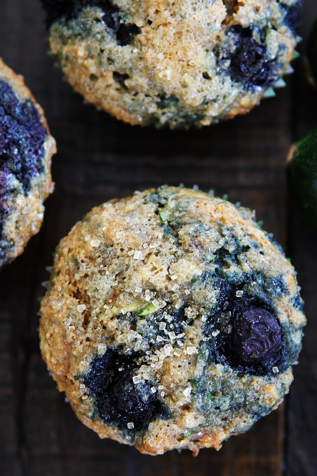 Zucchini Banana Blueberry Muffins from twopeasandtheirpod.com on foodiecrush.com