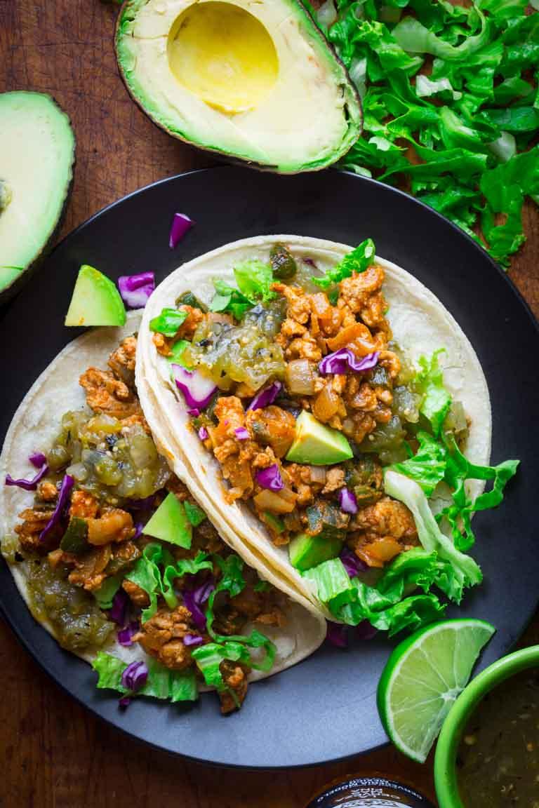 20 Minute Ground Chicken Tacos with Poblanos from healthyseasonalrecipes.com on foodiecrush.com