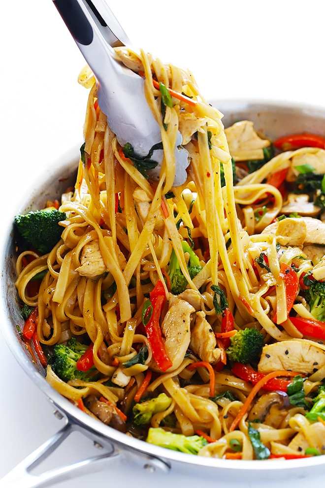 30-Minute Sesame Chicken Noodle Stir-Fry from Gimme Some Oven on foodiecrush.com #noodles #quick #fast #healthy #sesame #chicken #recipe #easy #stir #fry