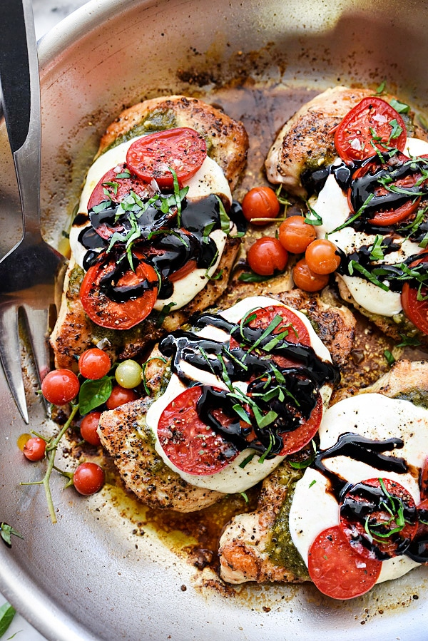 30-Minute Caprese Chicken from foodiecrush.com on foodiecrush.com