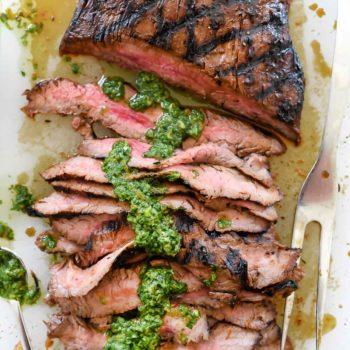 Marinated Flank Steak with Asian Chimichurri Sauce | foodiecrush.com
