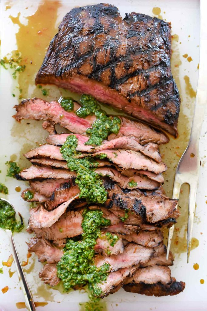 Marinated Flank Steak with Asian Chimichurri Sauce | foodiecrush.com