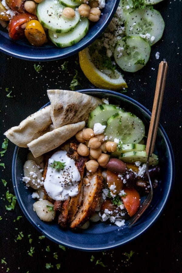 Chicken Shawarma Gnocchi Bowls from Climbing Grier Mountain on foodiecrush.com
