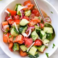 Crunchy Asian Cucumber Watermelon Salad | foodiecrush.com