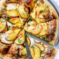 Pesto Pizza with Balsamic Chicken and Peaches | foodiecrush.com