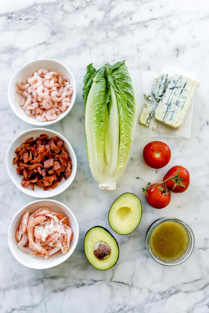 Shrimp and Crab Seafood Cobb Salad ingredients | foodiecrush.com
