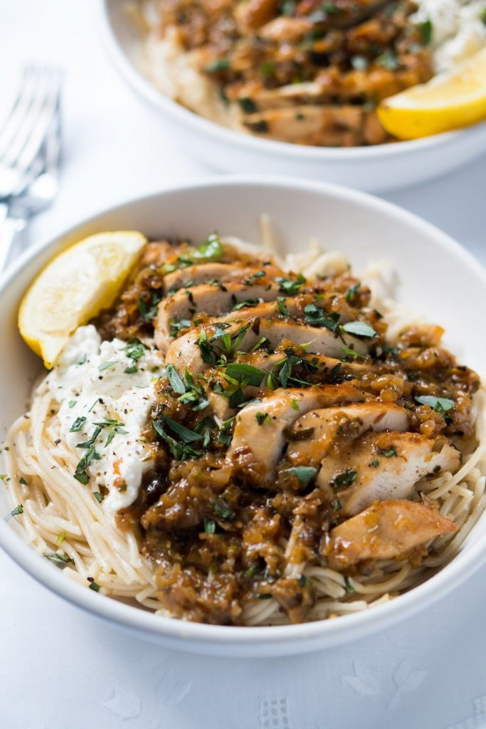 30-Minute Tarragon Chicken Pasta from Gnom Gnom on foodiecrush.com #tarragon #pasta #dinner #chicken #easy #recipe #skillet