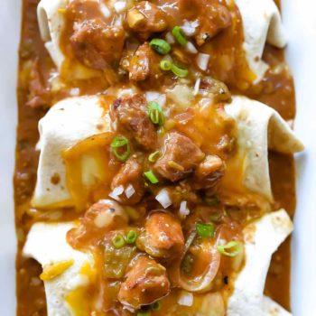 Quick and Easy Homemade Chile Verde Burritos | #chile #verde #pork #quick #easy #recipe #dinner #burritos foodiecrush.com