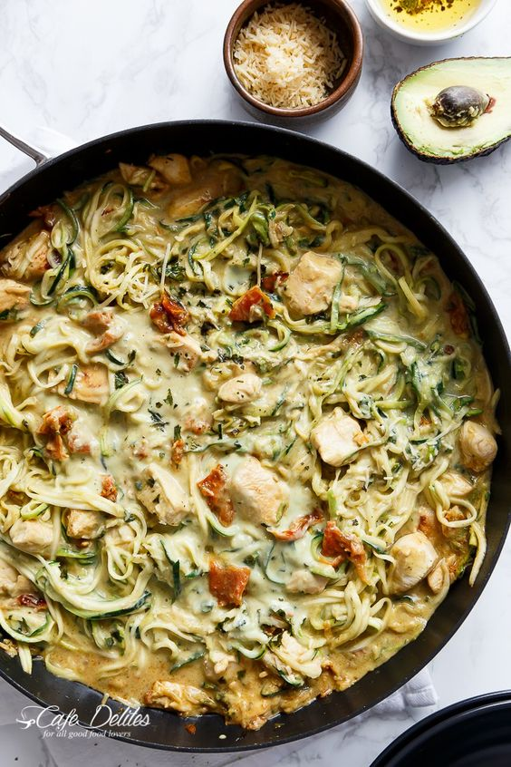 Avocado Alfredo Zoodles with Chicken and Sun Dried Tomatoes from cafedelites.com on foodiecrush.com