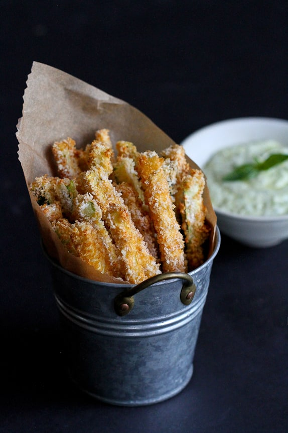 Baked Zucchini Fries with Pesto Yogurt Dipping Sauce from cookincanuck.com on foodiecrush.com