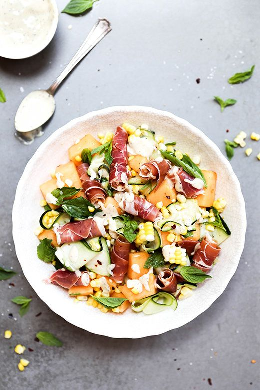 Corn, Zucchini and Cantaloupe Salad Prosciutto and Fresh Herbs from floatingkitchen.net on foodiecrush.com