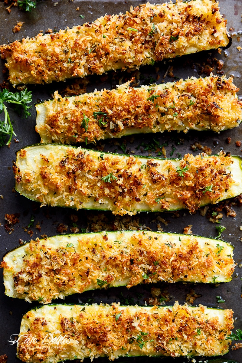Crispy Parmesan Crusted Zucchini from cafedelites.com on foodiecrush.com