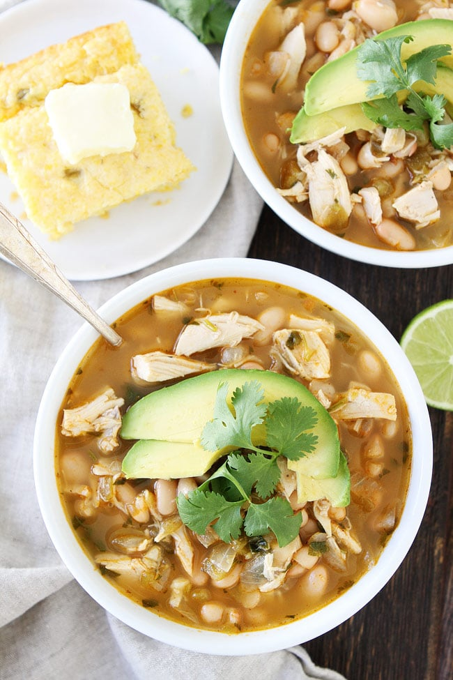 Easy White Chicken Chili from twopeasandtheirpod.com on foodiecrush.com